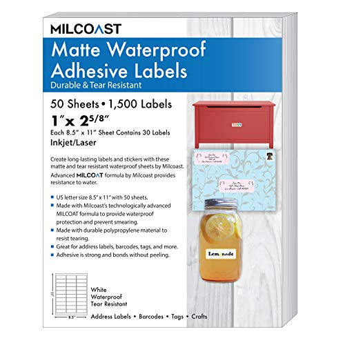 Milcoast Matte Waterproof Tear Resistant Address Labels 1