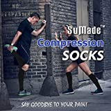 SuMade Tall Mens White Compression Socks, Athletic