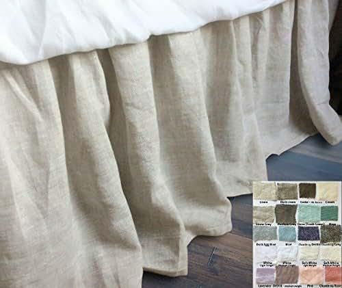 Amazon Com Linen Bed Skirt Gathered Ruffle White Grey