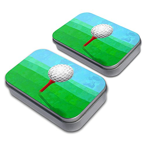 Golf Ball Decorative Craft Trinket Metal Tin Box Set of 2