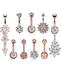 14G Stainless Steel Belly Button Rings Navel Curved Barbell Body Piercing Jewelry