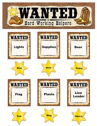 Teacher Created Resources Wanted: Western Helpers Mini Bulletin Board, Brown with Yellow (4866)