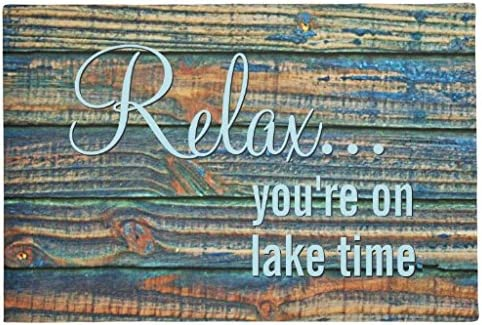 Wikiuen Relax You are on Lake Time Quote Doormat 24 x16