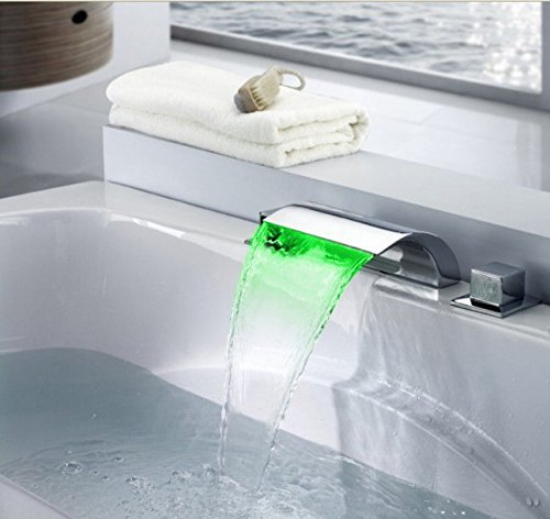 3 Color Changing Water Power LED Waterfall Widespread Bathroom Sink Faucet (Chrome Finish) 21896