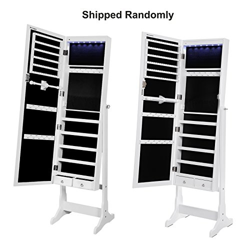 SONGMICS 6 LEDs Jewelry Cabinet Lockable Standing Jewelry Armoire ...