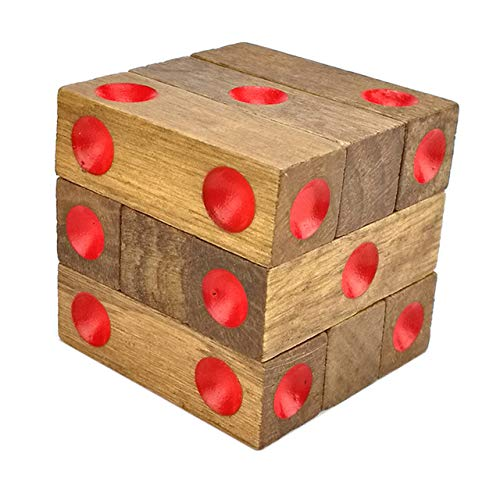 XuBa Brain Teaser Baby Wood Toy Unlock Puzzle Game Dice 1-6 Point Classical Toys Funny Kong Ming Lock Cube Toys Children & Adult - Teaser Brain Dice