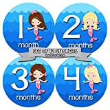 Monthly Baby Stickers by Months In Motion | 12 Month Milestone Sticker for Newborn Babies Girl Mermaid (Style 1170)