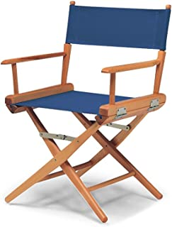 product image for Telescope Casual World Famous Dining Height Director Chair, Blue with Varnish Frame (60323C01)