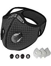 Dust Face Masks Reusable with Activated Carbon Filters Protective Face Masks Sport Outdoor Masks with Exhalation Valves Activated Carbon Filter Masks for Running Cycling Skiing Motorbikes