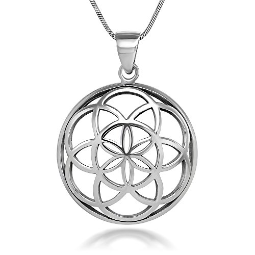 Chuvora 925 Sterling Silver Seed of Life Mandala 28 mm Round Circle Charm Pendant Necklace, 18 inches
