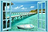 Startonight Glass Wall Art Acrylic Window to Paradise Beach, 23.62 X 35.43 Inch the Ultimate Wall Art