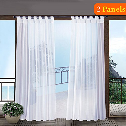 RYB HOME Outdoor Sheer Curtains for Porch - Pergola Sunlight/UV Protected Exterior White Voile Panels with Tab Loop Top for Gazebo/Garden, with 2 Tiebacks, Width 54 x Length 96 Inch, One Pair - Tie Top Pair Sheer