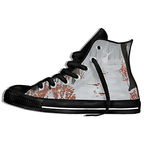 Classic High Top Sneakers Canvas Shoes Anti-Skid Deer Blood Casual Walking For Men Women Black guifrzOc