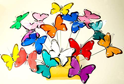 Air Aquarium Handmade Butterfly Stakes for Indoor & Outdoor Decoration | Waterproof Butterflies for Garden, Yard & Patio Décor | Ornaments for Planter, Flower Pot, Christmas, Birthday, Set of 10 (Pots Garden Ornaments)
