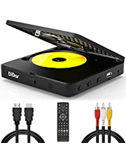 $99 » [Upgrade] Mini DVD Player, Blu-Ray HD DVD Player, 1080P Home Theater Disc Blue Ray Video Player with HDMI AV Output, Support USB Device, NTSC PAL System with HDMI AV Cables + Remote