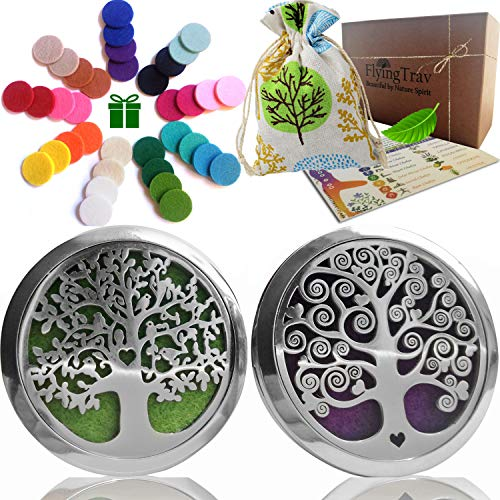 Essential Oil Car Diffuser Aromatherapy - 35mm Stainless Steel Diffuser Locket Vent Clips 2 Pack for Desk, Yoga, Travel Nontoxic EcoFriendly Oils All Natural EO Air Freshener Gift Set 36pc Refill Pads