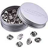 Arts & Crafts : Mudder 50 Pieces Brass Butterfly Clutch Badge Insignia Clutches Pin Backs Replacement (Silver)