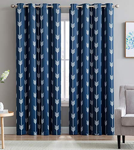 "HLC.ME Arrow Printed Blackout Room Darkening Thermal Grommet Window Curtain Drape Panels for Bedroom - Set of 2 - Navy Blue - 84"" inch Long"