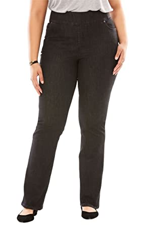 1d6424d8c888c Woman Within Plus Size Bootcut Smooth Waist Jean at Amazon Women s ...