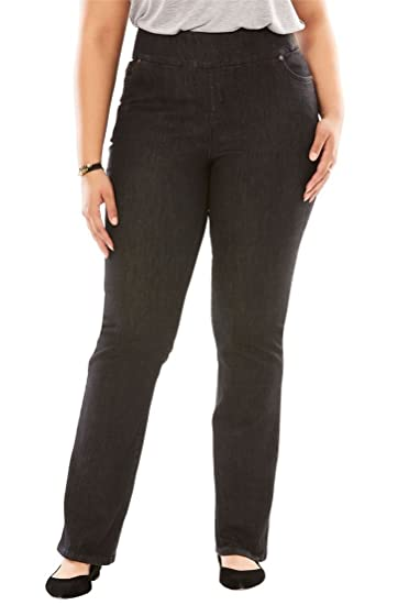 b602b8e2403db Woman Within Plus Size Petite Bootcut Smooth Waist Jean at Amazon Women s  Jeans store
