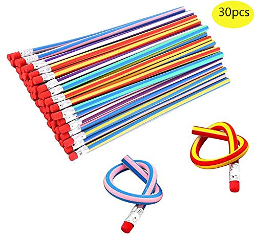 Haawooky Kid's Children Flexible Soft Pencil Magic Bend School Fun Equipment, 30 Piece]()