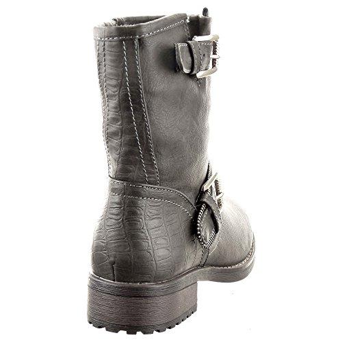 Sopily - Zapatillas de Moda Botines Cavalier Low boots A medio muslo mujer Hebilla metálico Talón Tacón ancho 3 CM - plantilla sintética - forradas en piel - Gris