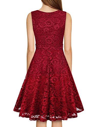 Long Women Neck Dress Sleeveless Line Fashion Vintage Summer V A Laksmi Wine Bridesmaid Lace PR4qwAdq