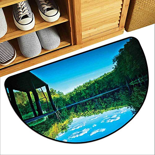 DILITECK Welcome Door mat Nature Wooden Bridge Trees Forest Along The River Lake Clouds Honeymoon Landscape Picture Easy to Clean W36 xL24 Green Blue