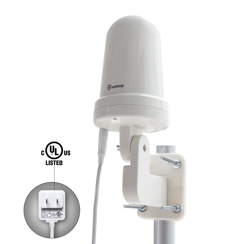 Outdoor HDTV antenna-ANTOP UFO 360 ° Amplified Antenna Long Range Reception Omni-directional for Attic Home RV TV with Built-in 4G LTE Filter, Waterproof, UV coating and Super Compact