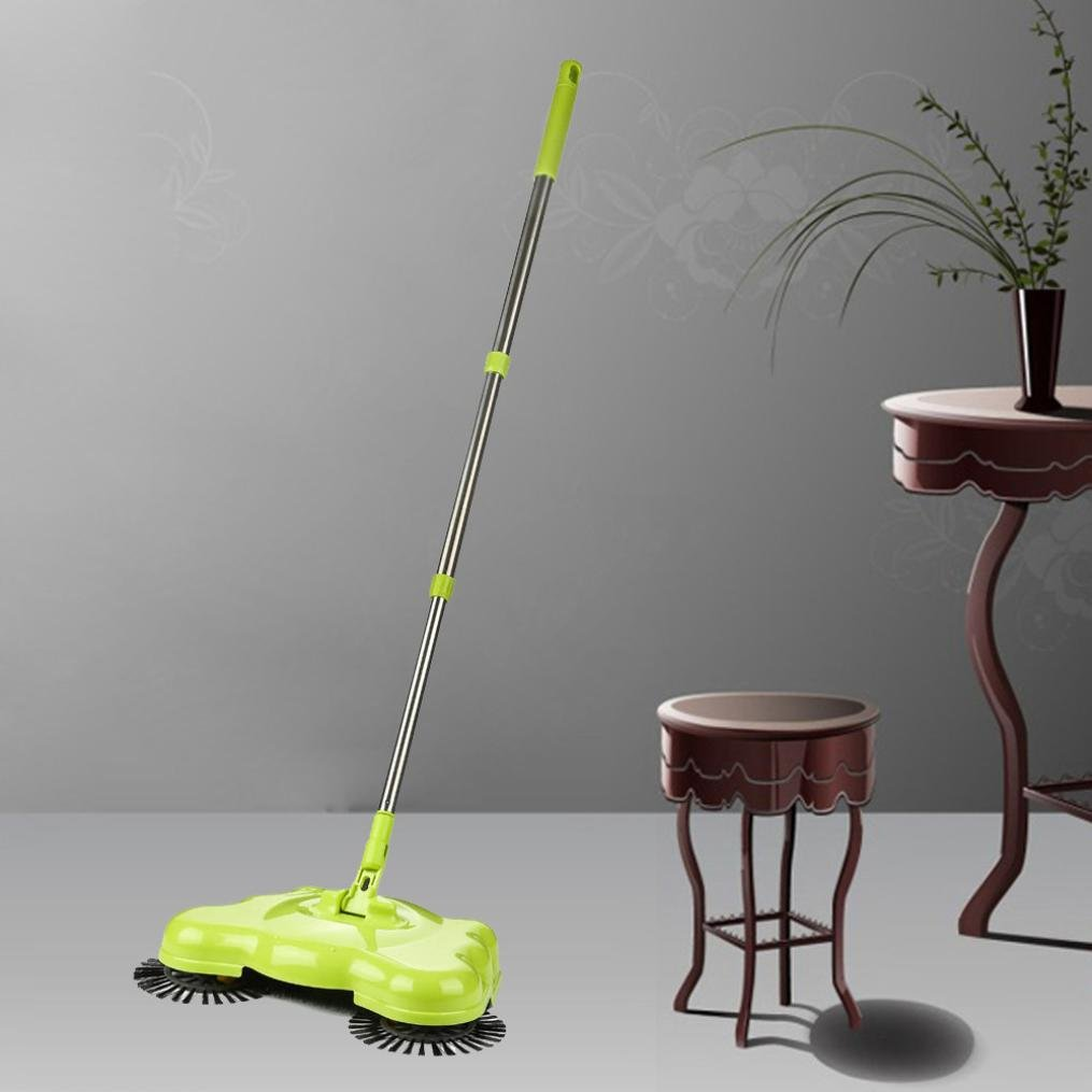 Sikye Adjustable Handle Household Clean Lightweight Sweep-up Swivel Sweeper (Green)