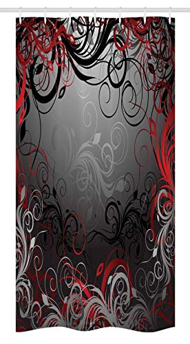 Red and Black Stall Shower Curtain by Ambesonne, Mystic Magical Forest Inspired Floral Swirls Leaves Nature Artwork, Fabric Bathroom Decor Set with Hooks, 36 W x 72 L Inches, Charcoal Grey Ruby
