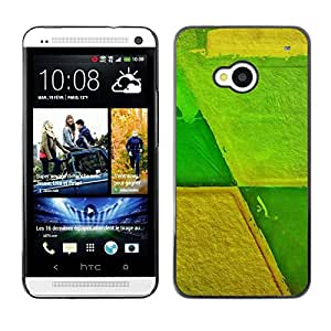 TopCaseStore / la caja del caucho duro de la cubierta de protección de la piel - Agriculture Farming Abstract Green Yellow - HTC One M7