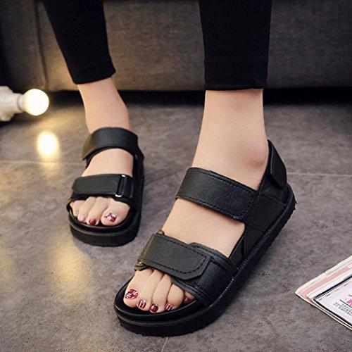 Ouneed Mujeres Moda Verano Gladiador Plana Zapatos Casual Ocasiones Sandalias Cómodas Negro