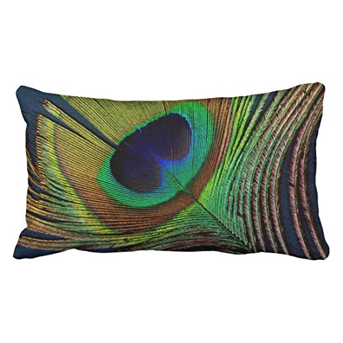 Capsceoll Peacock Peacock Feather Round Home Decor Decorative Throw Pillow Case 20X36Inch,Home Decoration Pillowcase Zippered Pillow Covers Cushion Cover with Words for Book Lover Worm Sofa Couch