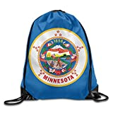 Flag of Minnesota 100% Polyester Drawstring Backpack Cool Backpack Buggy Bag