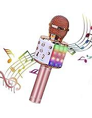 Micrófono Karaoke Bluetooth, Microfono Inalámbrico Karaoke Portátil con Función Selfie para Niños Canta Partido Musica, Compatible con Android/iOS PC, AUX o Teléfono Inteligente