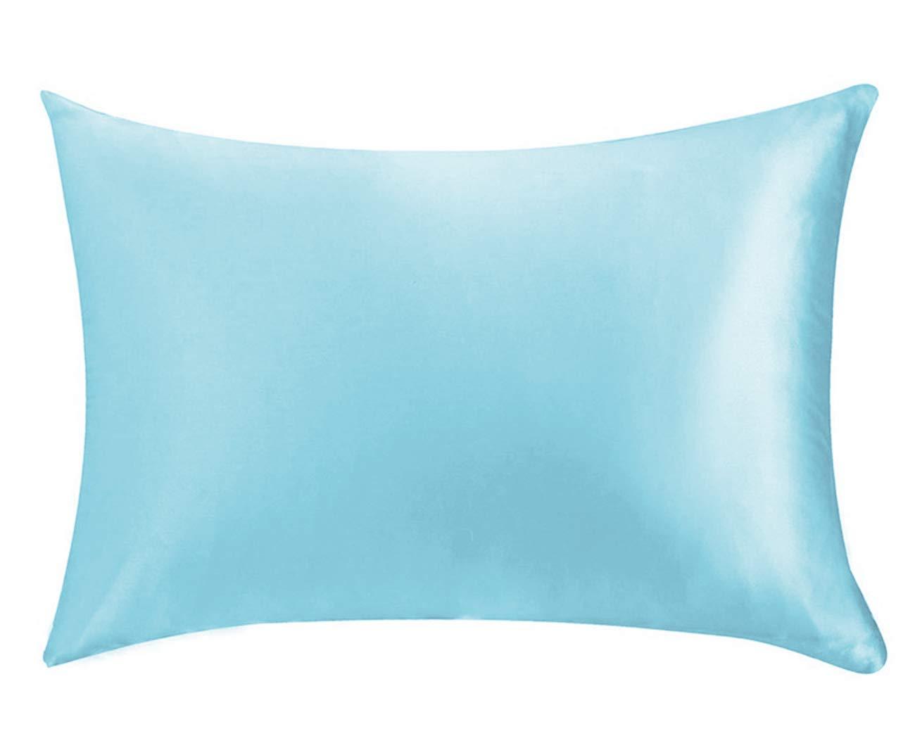 Silk Satin Pillow Case for Hair & Facial Skin to prevent wrinkles Hidden Zipper blue 1 Piece (pattern-2)