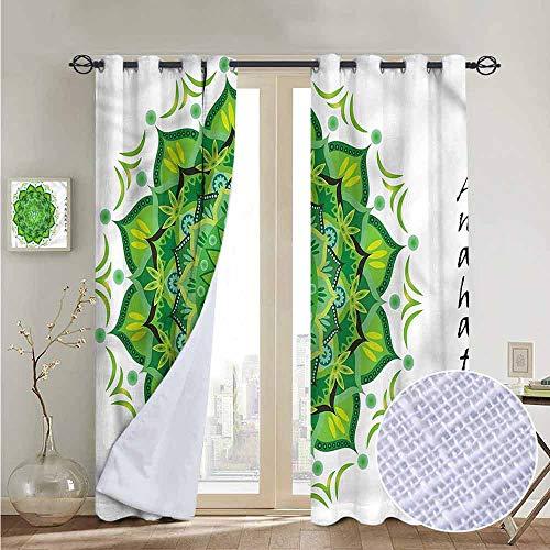 NUOMANAN Living Room Curtains Chakra,Waterlily Spiritual Symbol,Adjustable Tie Up Shade Rod Pocket Curtain ()