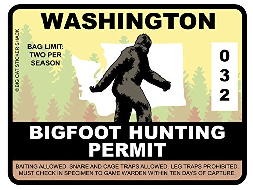 Bigfoot Hunting Permit - WASHINGTON (Bumper Sticker)