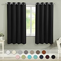 VEEYOO Bedroom Blackout Curtains 2 Panels - Thermal Insulated Grommet Window Curtain with Tiebacks Thick Darkening Drapes for Living Room, 52 x 63 Inches Black Curtains