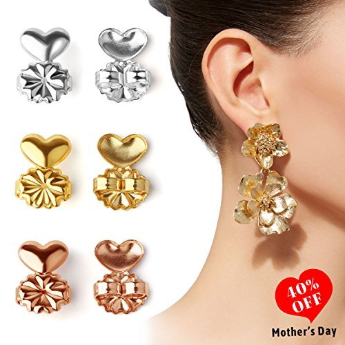 AsaVea Earring Lifters - 3 Pairs of Adjustable Hypoallergenic Earring Lifts (Gold Color and Silver Color and Rose Gold Color) by AsaVea