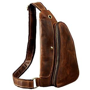 Le'aokuu Leather Sling Bag Cycling One Shoulder Strap Bag Backpack Waist Chest Bag Pack (9976 dark brown)
