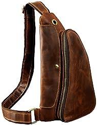 Leaokuu Mens Fashion Casual Tea Designer Travel Hiking Crossbody Chest Sling Bag Rig One Shoulder Strap Bag For...