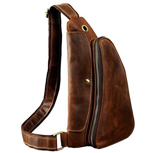 (Le'aokuu Leather Sling Bag Cycling One Shoulder Strap Bag Backpack Waist Chest Bag Pack (1-9976 dark brown))
