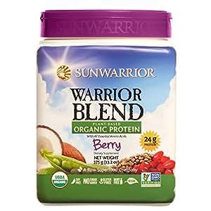 Sunwarrior - Warrior Blend, Raw, Plant Based, Organic Protein, Berry, 15 servings