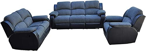 Romatlink Sofa Set Sectional Sofa for Living Room Furniture, Recliner Sofa Set, Motion Sofa, Couch Manual Reclining Sofa Recliner Chair, Split Back Design,Easy to Operate, Office Sofa