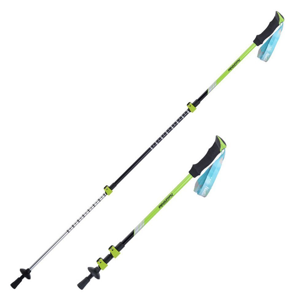 MyEasyShopping Naturehike 3 Section Trekking Pole Adjustable Folding Walking Stick Camping Aluminium Alpenstock Green by MyEasyShopping