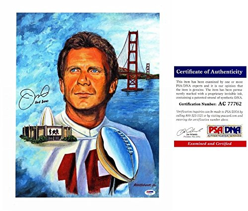 (SMUDGED - Discounted Joe Montana Signed - Autographed San Francisco 49ers 16x20 Lithograph Photo with 2000 Hall of Fame Inscription - PSA/DNA Certificate of Authenticity (COA))