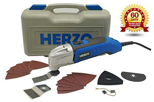 Read About HERZO Power Oscillating Multitool Kits 2.5Amp - 18 Pieces Oscillating Tool Saw and Access...