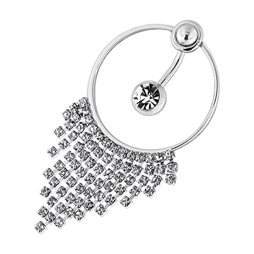 Clear Single Jewel with Multi Crystal Stone Chain Dangling 316L Surgical Steel Belly Button Piercing Ring